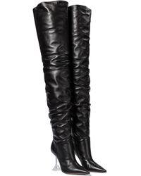 AMINA MUADDI Olivia Leather Over-the-knee Boots - Black