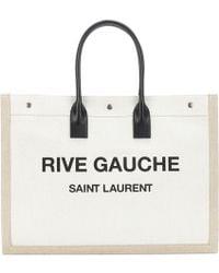 Saint Laurent - Shopper Rive Gauche in lino e pelle - Lyst