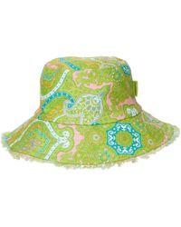 Zimmermann Chapeau bob en lin paisley - Vert