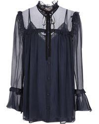 Gucci Ruffled Silk Chiffon Blouse - Blue
