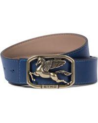 Etro Cinturón Pegaso de piel - Azul