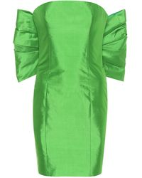 Rasario Exklusiv bei Mytheresa – Trägerloses Minikleid aus Seide - Grün