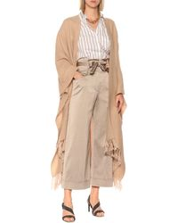 Brunello Cucinelli Cashmere And Mohair-blend Poncho - Natural