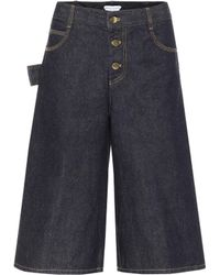 Bottega Veneta Jupe-culotte ample en jean à taille haute - Bleu