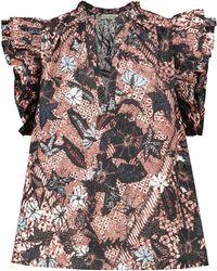 Ulla Johnson Top Elena in cotone con stampa - Multicolore