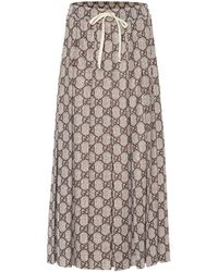 Gucci GG Pleated Jersey Midi Skirt - Brown