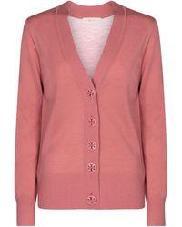 Tory Burch Simone Merino Wool Cardigan - Pink