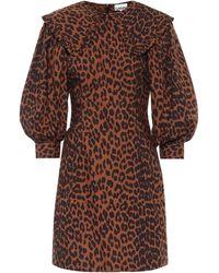 Ganni Vestido corto de algodón estampado - Marrón