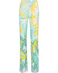 Emilio Pucci Dinamica Printed Jersey Pants - Blue