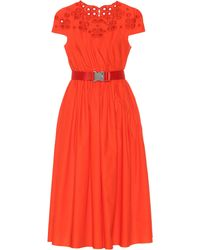 Fendi Belted Cotton Dress - Red