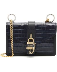 Chloé Aby Mini Croc-embossed Leather Cross-body Bag - Multicolour