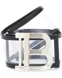 Balmain Logo Pvc Belt - Black