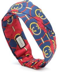 Gucci Fascia per capelli a stampa in seta - Blu