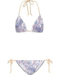 Zimmermann Exclusive To Mytheresa – Paisley Triangle Bikini - Blue
