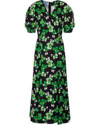 Prada Vestido midi de satén floral - Verde