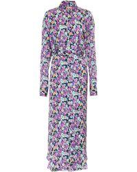 Plan C Vestido camisero de crepé floral - Morado
