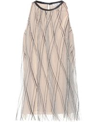 Brunello Cucinelli Embroidered Tulle Top - Natural