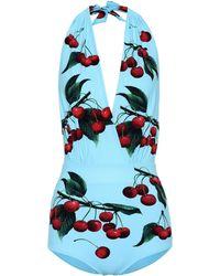 Dolce & Gabbana Exclusivo en Mytheresa – bañador estampado con cerezas - Azul