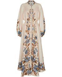 Zimmermann Alaine Floral Linen Maxi Dress - Natural