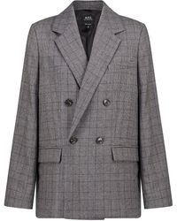 A.P.C. Blazer Prune a quadri in lana - Grigio