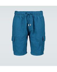 Vilebrequin Shorts cargo Baie in lino - Blu