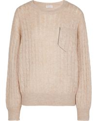 Brunello Cucinelli - Cable-knit Mohair And Wool-blend Sweater - Lyst