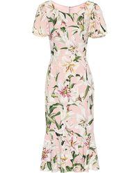 Dolce & Gabbana Bedrucktes Midikleid aus Crêpe - Pink