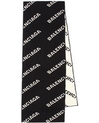 Balenciaga Allover Logo Scarf - Black