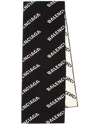 Balenciaga Allover Logo Scarf - Black