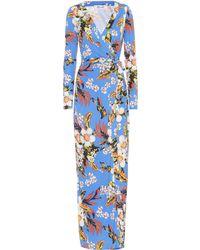 Diane von Furstenberg New Julian Floral Silk Dress - Blue