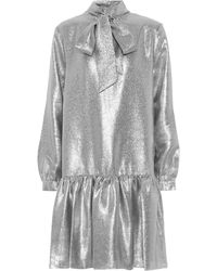 Tibi Tie-neck Lamé Minidress - Metallic