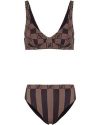 Fendi Bikini con logo - Marrone