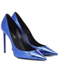 Saint Laurent Pumps Zoe 105 in pelle di serpente - Blu