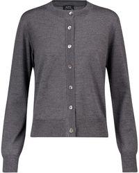A.P.C. Marine Merino Wool Cardigan - Grey