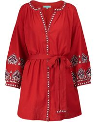 Melissa Odabash Tania Cotton And Linen Kaftan - Red