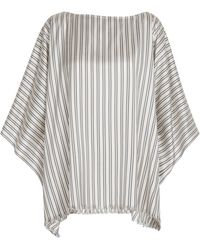 Brunello Cucinelli Exclusivo en Mytheresa - poncho de seda a rayas - Gris