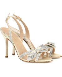 Alessandra Rich 105mm Embellished Satin Sandals - White