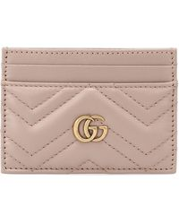 Gucci Calfskin Matelasse GG Marmont Card Holder Nude - Multicolour