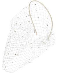 Jennifer Behr Verziertes Haarband Voilette - Weiß
