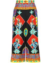 Dolce & Gabbana Pantalon imprimé à taille haute en coton - Noir