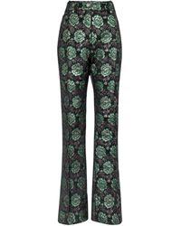 Paco Rabanne Pantalon évasé à taille haute en brocart à fleurs - Vert