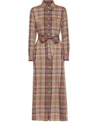 Polo Ralph Lauren Checked Flannel Midi Dress - Brown