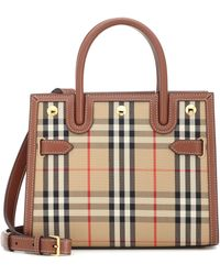 Burberry Title Small Canvas Tote - Natural