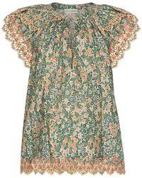 Ulla Johnson Blusa Elm de algodón floral - Verde