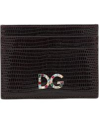 Dolce & Gabbana Kartenetui DG aus Leder - Schwarz