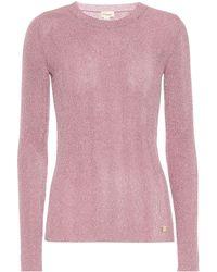 Temperley London Top Cordial in maglia lamé - Rosa