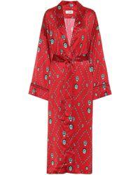Kirin Printed Satin Kimono - Red