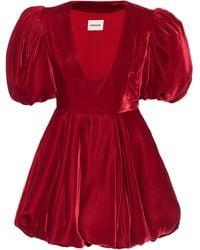 Khaite Leona Velvet Minidress - Red