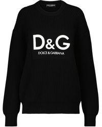Dolce & Gabbana Jersey de lana virgen con logo - Negro