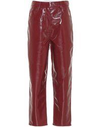 Tibi Pantalon à taille haute en cuir synthétique - Marron